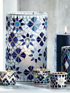 Indigo Mosaic Glass Hurricane by tag® Mosaic Planters, Mosaic Vase, Mosaic Flower Pots, Mosaic Diy, Mosaic Garden, Mosaic Crafts, Mosaic Projects, Mosaic Tiles, Pebble Mosaic