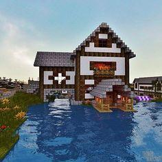 Haus am See Minecraft Project Cute Minecraft Houses, Minecraft Houses Blueprints, Minecraft Plans, Minecraft House Designs, Minecraft Survival, Amazing Minecraft, Minecraft Creations, Lego Minecraft, Minecraft Crafts