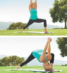 Bowing warrior. Strengthens glutes, thighs, core; stretches shoulders, lower back