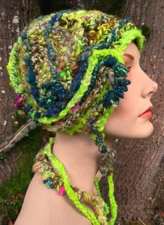 The Plucky Neutron- freeform crochet hat OOAK 2011