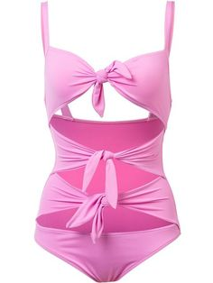 Shop Moschino tie front swimsuit.