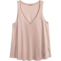 H&M+ V-neck Tank Top $12.99 ($13) ❤ liked on Polyvore featuring tops, v-neck top, v neck tank, v-neck tank top, pink tank top and h&m tank tops