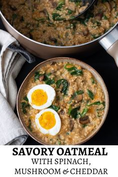 Recipes Breakfast Oatmeal Savory spinach, cheddar & mushroom oatmeal is cooked on the stove top and topped with a soft boiled egg for an easy and healthy breakfast recipe. Savory Breakfast, Breakfast For Dinner, Healthy Breakfast Recipes, Brunch Recipes, Vegetarian Recipes, Cooking Recipes, Healthy Recipes, Healthy Breakfasts, Breakfast Smoothies