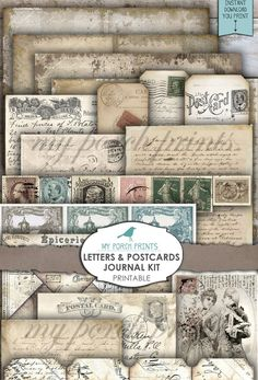ANTIQUE DOCUMENTS ORIGINAL Script Journal Tags Old Papers Wax Seal Texture Rustic Craft Printable Digital Download Scrapbook Shabby Chic