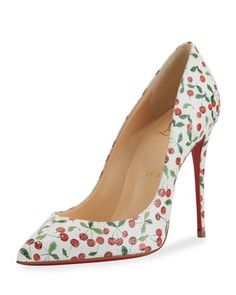 Pigalle Follies Cerise 100mm Red Sole Pump, Latte by Christian Louboutin at Neiman Marcus.