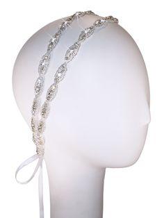 Two Strand Hanne Double Headband | Kirsten Kuehn || handmade crystal bridal sashes