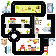 """Play mat for cars: Furniture sticker """"Ride on CITY"""""""