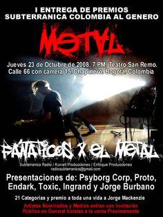 Afiche de los premios exclusivos al género Metal organizados por Subterránica Colombia en 2008