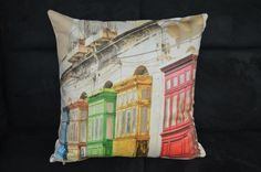 colorful homes pillow cover by organicom on Etsy