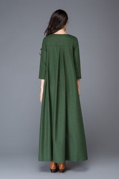 Robe en laine vert maxi robe robe femme robe plissée robe