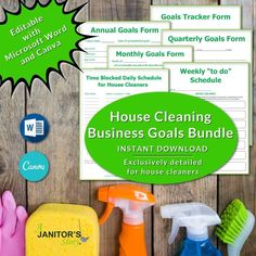 Yearly, quarterly, monthly, weekly, and daily goal tracker printable PDF. Including easy to edit MS Word Doc and Canva Template. Exclusively designed for housecleaning business owners. Great for Building Cleaning Services, Professional Cleaning Services, Cleaning Contracts, House Cleaning Checklist, Cleaning Hacks, Maid Cleaning Service, Business Goals, Business Planning, Cleaning Business