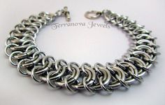 Chainmaille Bracelet in All Silver Kingscale by terranovajewels, £18.00