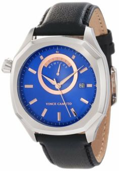 Vince Camuto Men's VC/1006BLSV The Spectator Silver-Tone Blue Dial Day Date Watch Vince Camuto. $195.00
