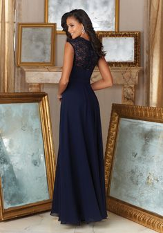 Beaded Lace and Chiffon Material Bridesmaid Dress Designed by Madeline Gardner. Matching Tie Sash included.