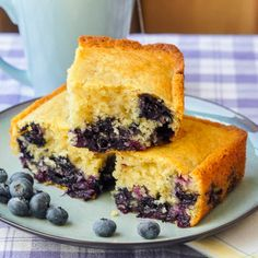 Blueberry Snack Cake - a.k.a. Baked Newfoundland Blueberry Duff. A very quick and easy buttery moist snack cake bursting with sweet, ripe blueberries.