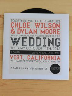 Custom Vinyl Music Record Wedding Invitation (authentic vinyl record). $10.00, via Etsy.