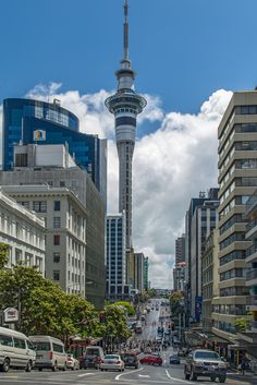 NZ North Auckland Victoria Street with Sky Tower from Kitchener Street