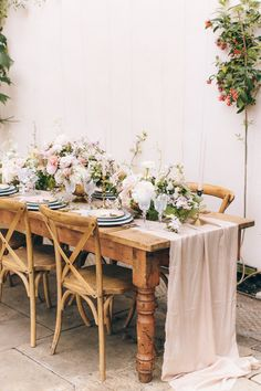 Tablescape - Blush Pink & Botanical Inspiration Shoot at Sezincote | Planned & Styled by Liz Linkleter Event Planning and Design | Images by Rebecca Goddard