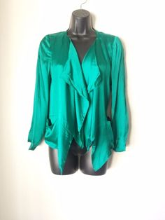 NEW LINE AND DOT FOREST GREEN TOP WOMENS CLOTHING 100 SILK SIZE MEDIUM NWT #LineDot #Blouse #EveningOccasion