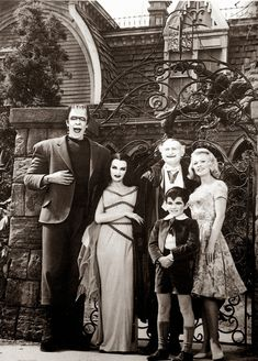 "don56: """"The Munsters"" cast - Fred Gwynne, Yvonne De Carlo, Al Lewis, Butch Patrick and Pat Priest """
