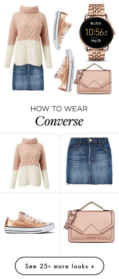 """""""Warm sweater with metallic touch"""" by subvilli on Polyvore featuring Frame Denim, Miss Selfridge, Converse, FOSSIL, Karl Lagerfeld, Sweater, metallic, MINISKIRT, karllagerfeld and polyvorefashion"""
