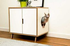 WHITE ~ Standard Cabinet // Mid Century Modern Pet Furniture // Cat Litter Box Cover // Pet House // Side Table from Modernist Cat. Saved to house and. Modern Cat Furniture, Pet Furniture, Cabinet Furniture, Furniture Design, Furniture Ideas, Painted Furniture, Litter Box Covers, Cat Condo, Decoration Inspiration