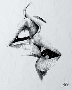 Digital designer and illustrator Muhammed Salah. Muhammed Salah is a 27 years old artist, illustrator, art director, digital designer and graphic designer. Cool Art Drawings, Pencil Art Drawings, Realistic Drawings, Art Drawings Sketches, Drawing Lips, Drawing Drawing, Drawings About Love, Sketches Of Love, Eye Drawings