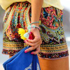 Modern Boho, Bohemian, Tribal, Aztec, Hippie, Shorts, Summer. Festival, fashion, Style,  - The Colorful Life