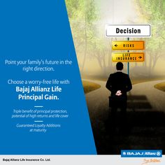Don't let ups and downs of the market take you for a ride. Get yourself the assurance of guarantees - only with Bajaj Allianz Life Principal Gain. You deserve to #JiyoBefikar Visit our website to know more.