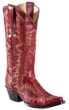 Corral® Ladies Red w/ Tall Top Fancy Stitch Snip Toe Western Boots | Cavender's Boot City