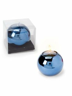 "Set of 2 Pieces 2"" Glass Ball Metallic Blue Tea Light Tealight Holder with Candles by American Chateau. $8.99. You get 2 Pieces. Color: BLUE. Material: GLASS. Size: 2.5"" H x 2.9"" L x 2.9"" W. Color: BLUE; Material: GLASS; Size: 2 1/2"" H x 2 9/10"" L x 2 9/10"" W; You get 2 Pieces"