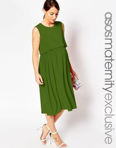 Image 1 ofASOS Maternity NURSING Sleeveless Midi Skater Dress With Double Layer