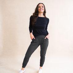 Stylish Women's Dressy Sweatpant - Made in Canada Clothing | Encircled Dressy Sweatpants, Minimalist Wardrobe, Grey Pants, Comfortable Fashion, Wearing Black, Capsule Wardrobe, Canada Clothing, Fashion Brand, Rib Knit