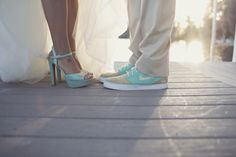 Turquoise wedding shoes for the bride & groom! Image: Anchor and Ivory Photography