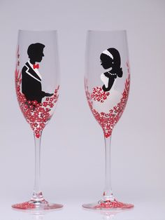 hand painted wedding toasting flutes set of 2 personalized champagne glasses groom and bride red black and white red passion flowers wedding decorations FABULOUS IDEA! Painted Champagne Flutes, Wedding Champagne Flutes, Champagne Glasses, Decorated Wine Glasses, Painted Wine Glasses, Wedding Wine Glasses, Red And White Weddings, Toasting Flutes, Wedding Flower Decorations