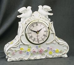 Doves and Roses Porcelain Clock with Gold Overlay  Price: $25.95