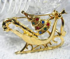 Vintage Christmas Brooch, Colorful Rhinestones, Gold Holiday Sleigh Pin, Tree, Candy Cane, Bow, 1980's Jewelry by AVintageJewelryChest on Etsy