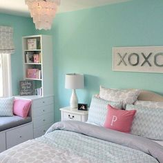 Teenage Girl Bedroom Colors The Colour Of The Walls Is Sherwin Williams Tame Teal! Love For A Teen Girl Room. Teenage Girl Bedroom Colors The Colour Of The Walls Is Sherwin Williams Tame Teal! Love For A Teen Girl Room. Girls Bedroom Colors, Teenage Girl Bedroom Designs, Teen Girl Rooms, Teenage Girl Bedrooms, Teal Teen Bedrooms, Trendy Bedroom, Teenager Bedroom Girls, Girl Kids Room, Modern Bedroom