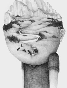 Portraits Of Whimsical Characters With Strange Heads That Morph Into Landscapes - DesignTAXI.com