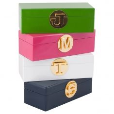 Available in 4 gorgeous colours and 16 initials. Lined in beautiful velvet, these are the perfect gift. for yourself or for someone special. The stunning gold initial clasp means they are a highly . Jewellery Boxes, Jewelry Box, Jewelry Accessories, Vintage Mason Jars, Initial Jewelry, Shop Icon, Personalized Wedding Gifts, Cool Gifts, Mother Day Gifts