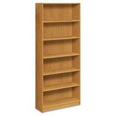"NEW - 1890 Series Bookcase, 6 Shelves, 36w x 11-1/2d x 84h, Harvest - 1897C by Hon. $265.34. Durable, long-lasting laminate finish. Contemporary edges for a soft designer look. 3/4"" thick shelves adjust on 1-1/4"" increments. Four adjustable leveling glides. Inside back finished. 36w x 11-1/2d. Meets or exceeds ANSI/BIFMA standards. Color: Harvest; Material: Laminated; Shelf Count: 6."