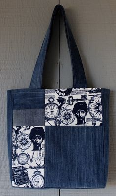 Best 12 Vintage Steampunk Inspired Denim and Fabric Patch with Front Pocket Tote with Invisible Magnetic Closure - by AllintheJeans on Etsy Denim Tote Bags, Denim Purse, Denim Bag Patterns, Blue Jean Purses, Tree Bag, Tote Bags Handmade, Diy Handbag, Fabric Patch, Patchwork Bags
