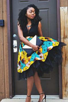 This is a high waist gather skirt made out of ankara african print fabric and a tulle fabric. African Dresses For Women, African Print Dresses, African Attire, African Wear, African Women, African Prints, African Print Skirt, African Style, African Inspired Fashion