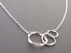Triple ring Sterling silver Necklacesimple by siemprejewelry, $26.00