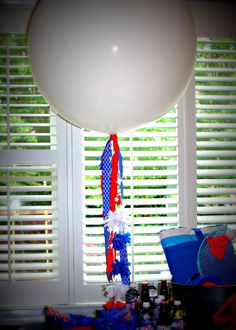 Red, white and blue balloon centerpiece