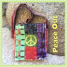 "Sale🎉🎉NWOT Peace Out Bag NWOT Peace ✌out and carry this boho chick lightweight shoulder drop down or cross body purse.  With adjustable strap, small zip pocket under front of flap, approximately 7 1/2-8"" squared.  Multi color cutting technique made by artisans in Nepal.  Bundle up with check out other listings a great match with other Rising International and India Boutique  .  ✌🏽New Without Tags. Rising International  Bags Crossbody Bags"