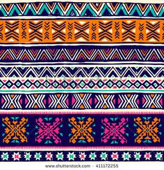 multicolor tribal Navajo vector seamless pattern with doodle elements. Vector Pattern, Pattern Art, Print Patterns, Iphone 6 Wallpaper, Bottle Painting, Fabric Paper, Fabric Design, Geometric Art, How To Draw Hands