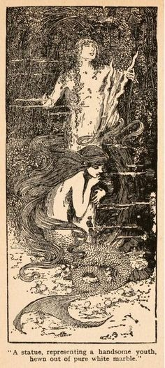 "Fairy tales of Hans Andersen (1908)illustrated by Helen Stratton  ""A statue, representing a handsome youth, hewn out of pure white marble"""