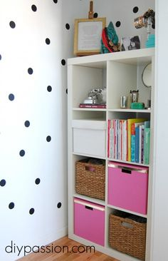This blogger turned her little closet corner into a colorful and patterned space!