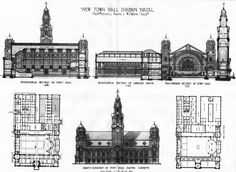 1906 - Design for New Town Hall, Durban, South Africa - Architecture of South Africa - Archiseek.com
